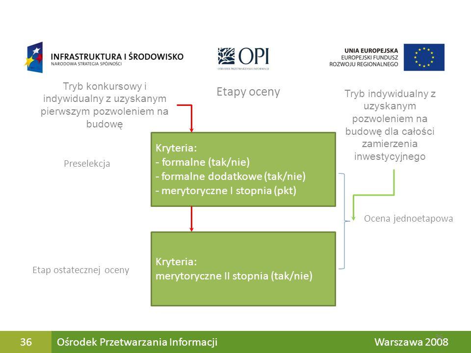 Jk Ośrodek Przetwarzania Informacji Warszawa 200836 Preselekcja Etap ostatecznej oceny Kryteria: - formalne (tak/nie) - formalne dodatkowe (tak/nie) -