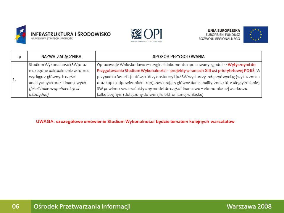 Ośrodek Przetwarzania Informacji Warszawa 200837 Załączniki do etapu ostatecznej oceny Tryb konkursowy i indywidualny z uzyskanym pierwszym pozwoleniem na budowę Tryb indywidualny z uzyskanym pozwoleniem na budowę dla całości zamierzenia inwestycyjnego Załączniki do preselekcji Całość dokumentacji składana jednocześnie Dokumentacja składana w 2 etapach Aktualizacja Wniosku i niektórych załączników z etapu preselekcji Wnioskodawcy składają więc taka samą dokumentację – drobne różnice dotyczą jedynie aktualizacji załączników oraz dokumentacji technicznej, która w trybie dwuetapowym nie musi być pełna 37