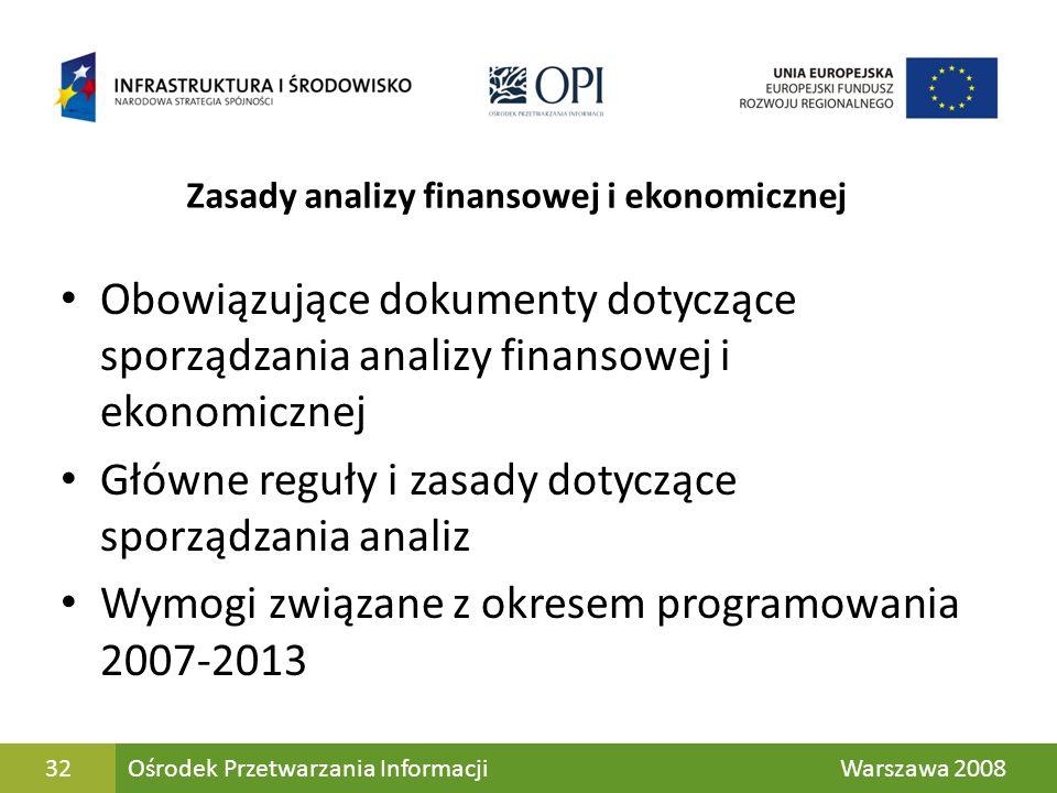 32 Zasady analizy finansowej i ekonomicznej Obowiązujące dokumenty dotyczące sporządzania analizy finansowej i ekonomicznej Główne reguły i zasady dot