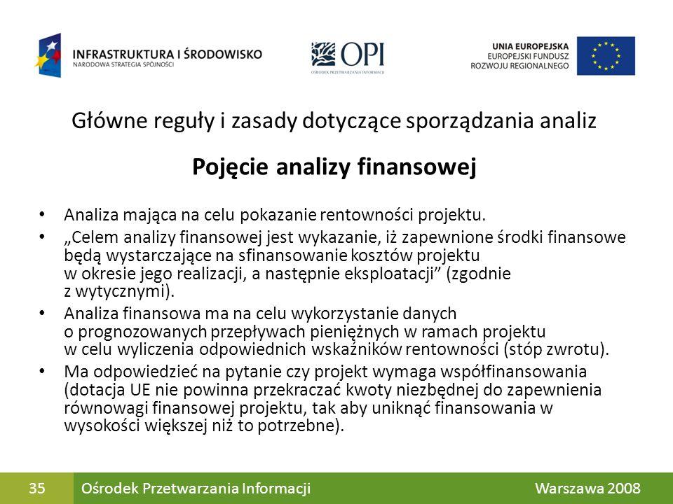 35 Główne reguły i zasady dotyczące sporządzania analiz Pojęcie analizy finansowej Analiza mająca na celu pokazanie rentowności projektu. Celem analiz