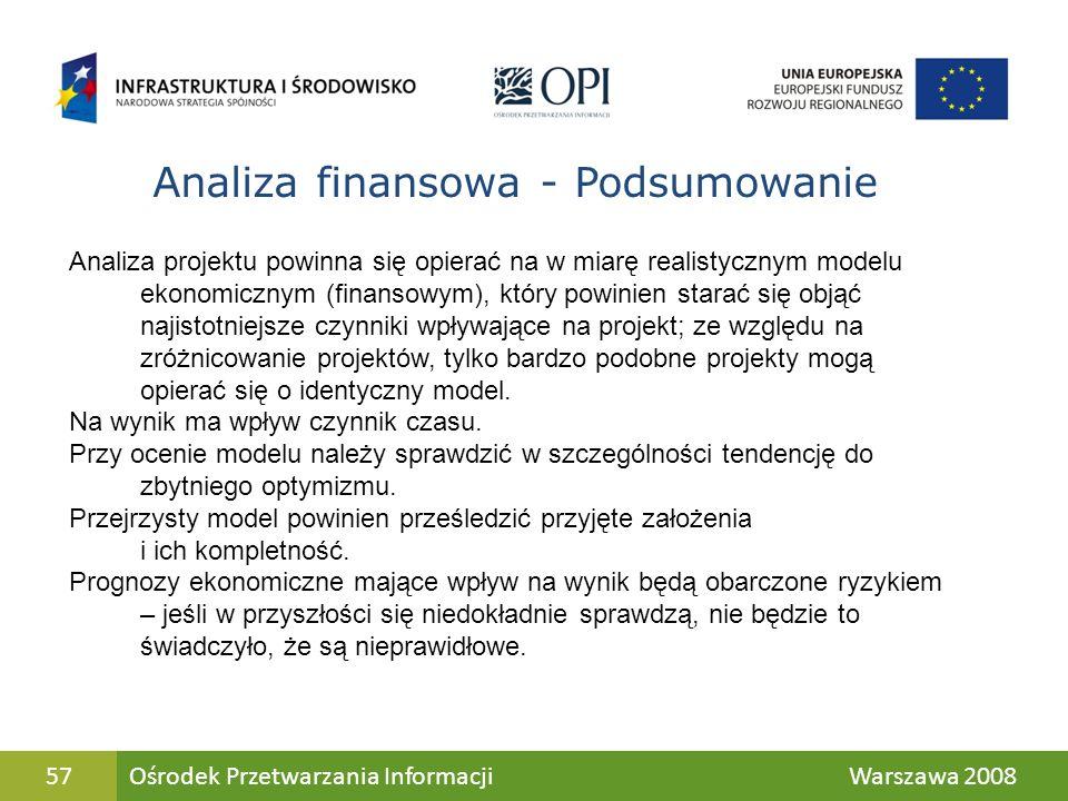 57 Analiza projektu powinna się opierać na w miarę realistycznym modelu ekonomicznym (finansowym), który powinien starać się objąć najistotniejsze czy