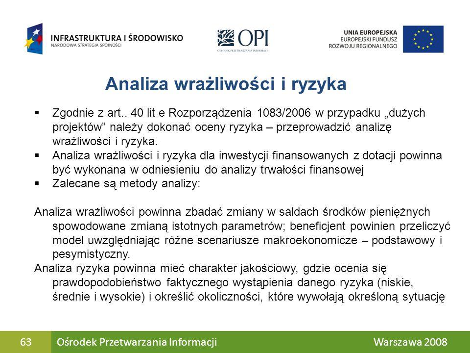 63 Analiza wrażliwości i ryzyka Zgodnie z art.. 40 lit e Rozporządzenia 1083/2006 w przypadku dużych projektów należy dokonać oceny ryzyka – przeprowa
