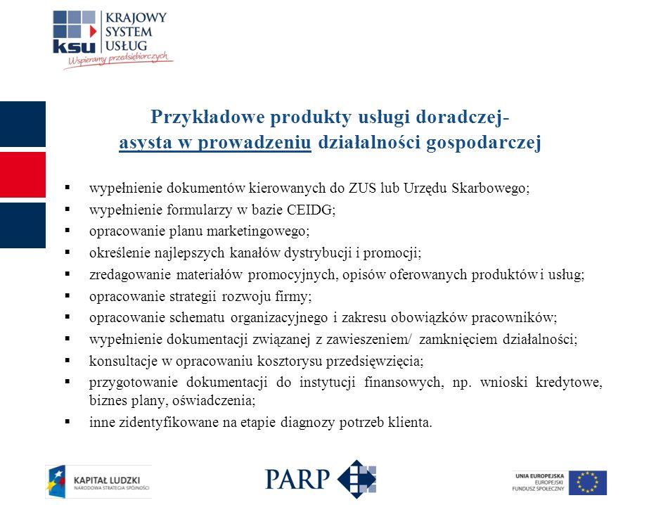 Przykładowe produkty usługi doradczej- asysta w prowadzeniu działalności gospodarczej wypełnienie dokumentów kierowanych do ZUS lub Urzędu Skarbowego;