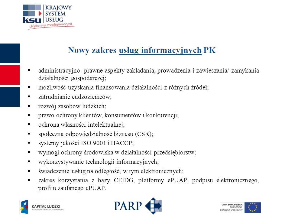 Nowy zakres usług informacyjnych PK administracyjno- prawne aspekty zakładania, prowadzenia i zawieszania/ zamykania działalności gospodarczej; możliw