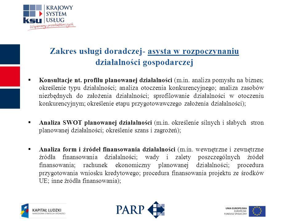 Zakres usługi doradczej- asysta w rozpoczynaniu działalności gospodarczej Konsultacje nt. profilu planowanej działalności (m.in. analiza pomysłu na bi