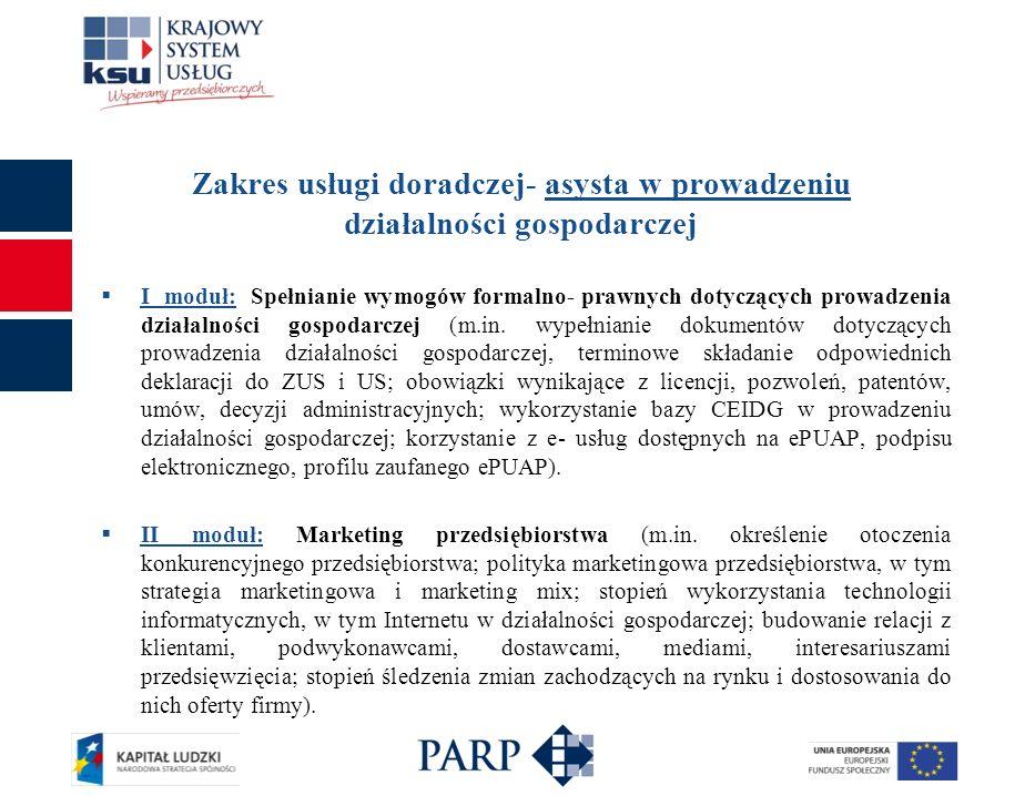 Zakres usługi doradczej- asysta w prowadzeniu działalności gospodarczej III moduł: Organizacja przedsiębiorstwa (m.in.