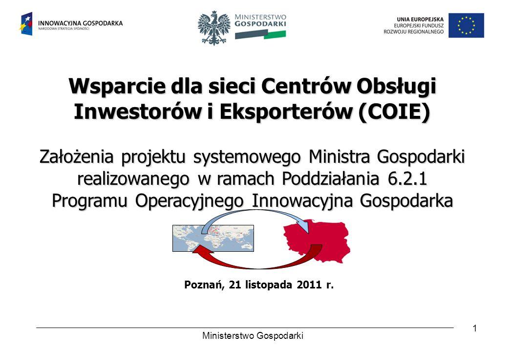 1 Wsparcie dla sieci Centrów Obsługi Inwestorów i Eksporterów (COIE) Założenia projektu systemowego Ministra Gospodarki realizowanego w ramach Poddzia