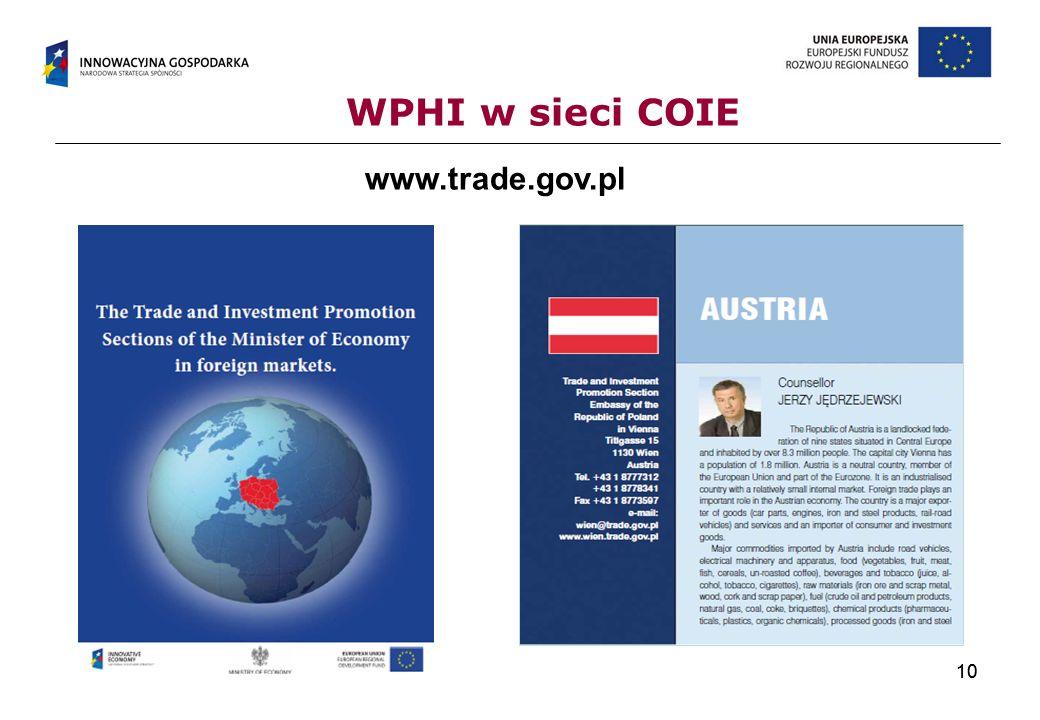 10 WPHI w sieci COIE www.trade.gov.pl