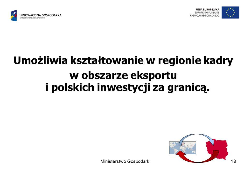 18 Umożliwia kształtowanie w regionie kadry w obszarze eksportu i polskich inwestycji za granicą. 18Ministerstwo Gospodarki