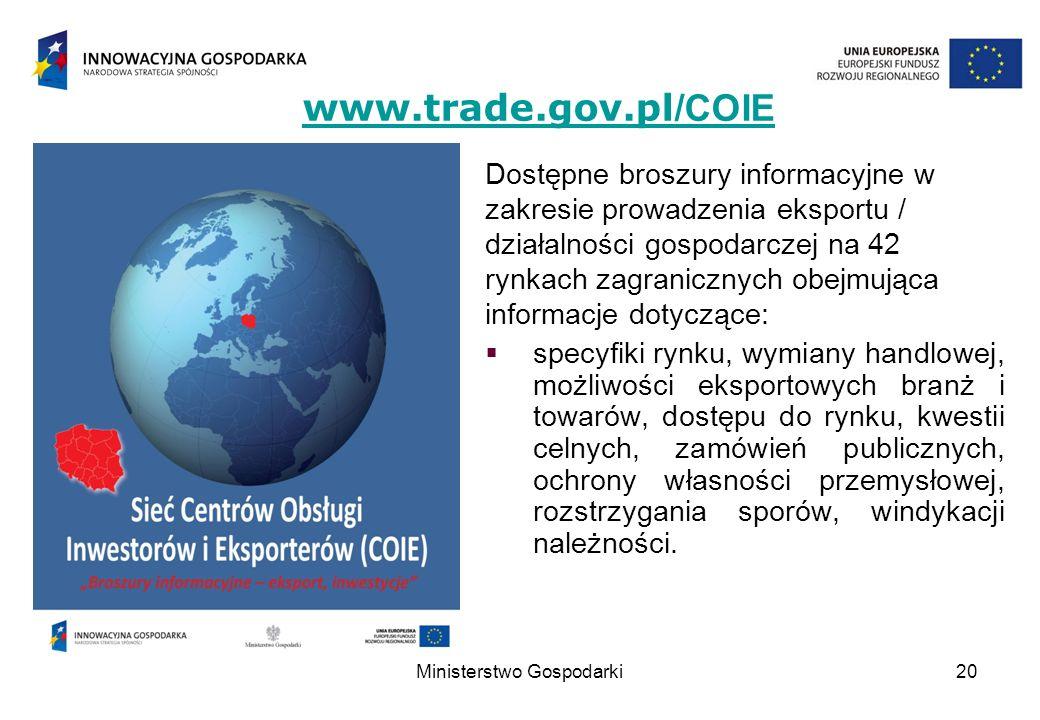 20 Dostępne broszury informacyjne w zakresie prowadzenia eksportu / działalności gospodarczej na 42 rynkach zagranicznych obejmująca informacje dotycz