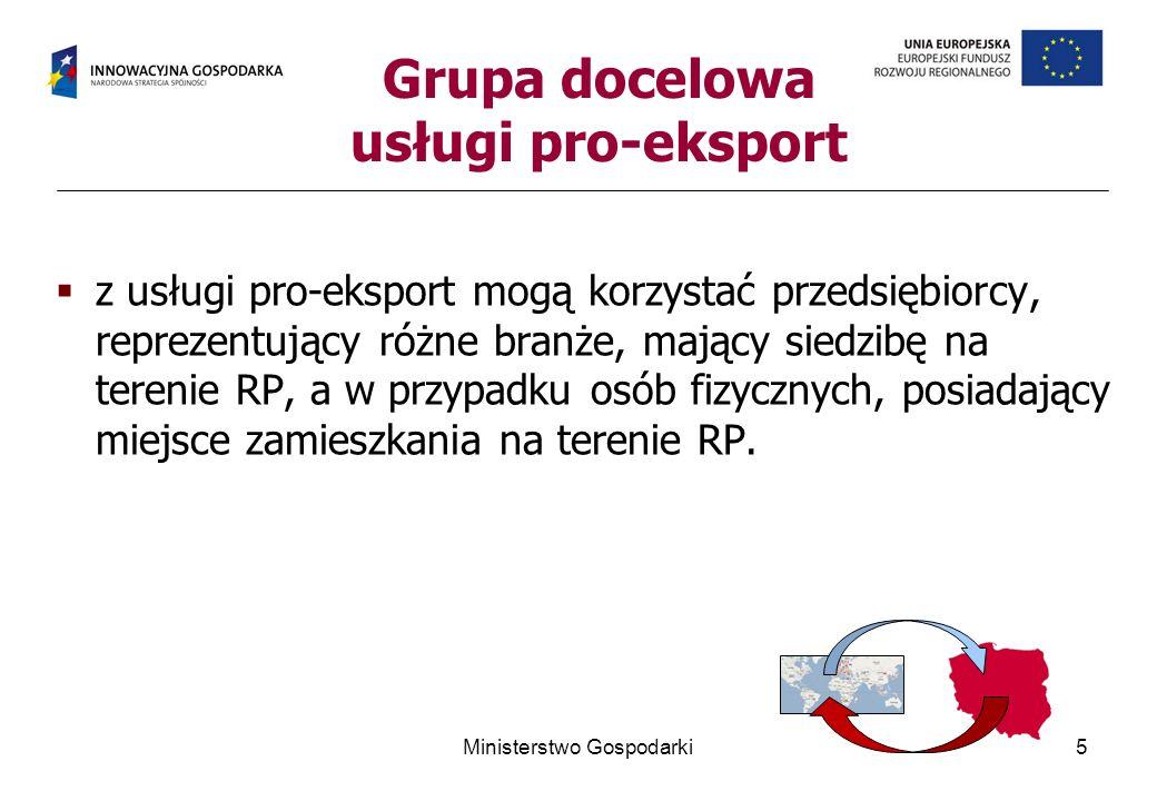 z usługi pro-eksport mogą korzystać przedsiębiorcy, reprezentujący różne branże, mający siedzibę na terenie RP, a w przypadku osób fizycznych, posiada