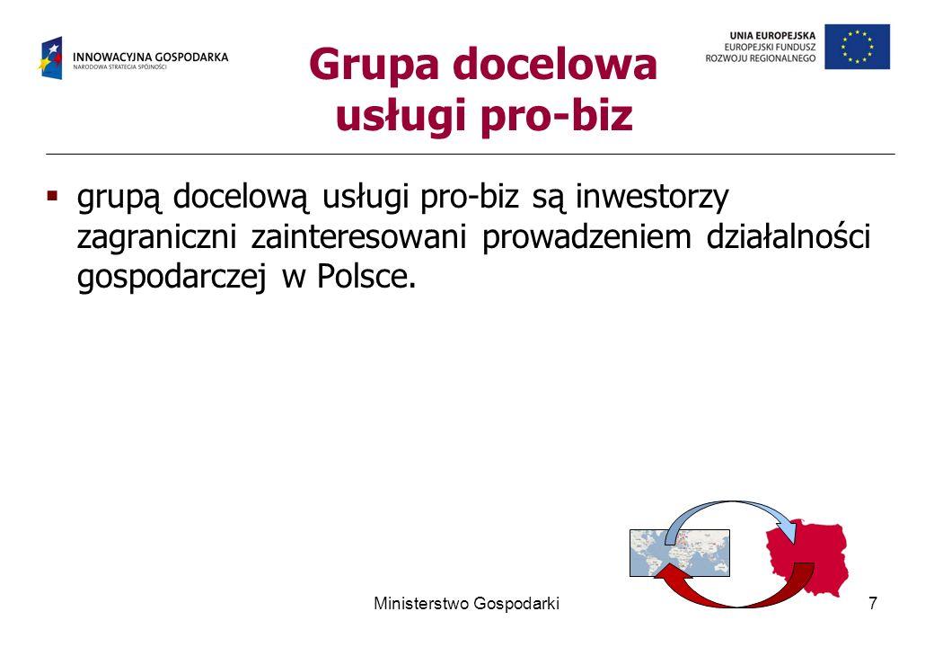 grupą docelową usługi pro-biz są inwestorzy zagraniczni zainteresowani prowadzeniem działalności gospodarczej w Polsce. Ministerstwo Gospodarki7 Grupa