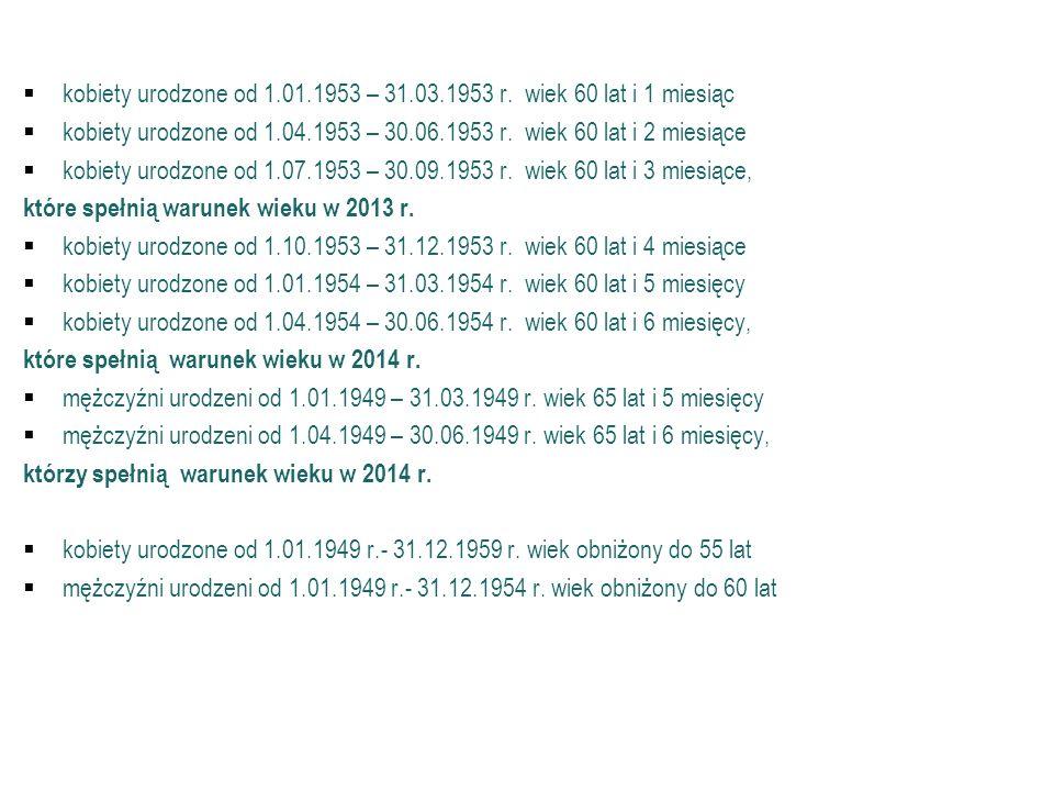 Emerytura mieszana (c.d.) kobiety urodzone od 1.01.1953 – 31.03.1953 r. wiek 60 lat i 1 miesiąc kobiety urodzone od 1.04.1953 – 30.06.1953 r. wiek 60