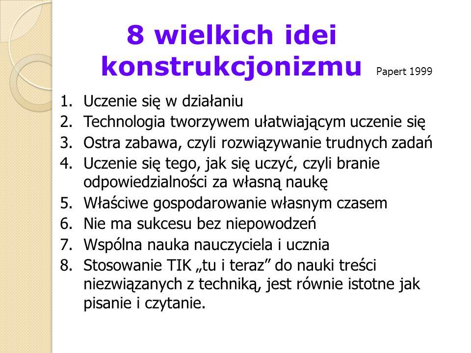 8 wielkich idei konstrukcjonizmu 1.Uczenie się w działaniu 2.Technologia tworzywem ułatwiającym uczenie się 3.Ostra zabawa, czyli rozwiązywanie trudny