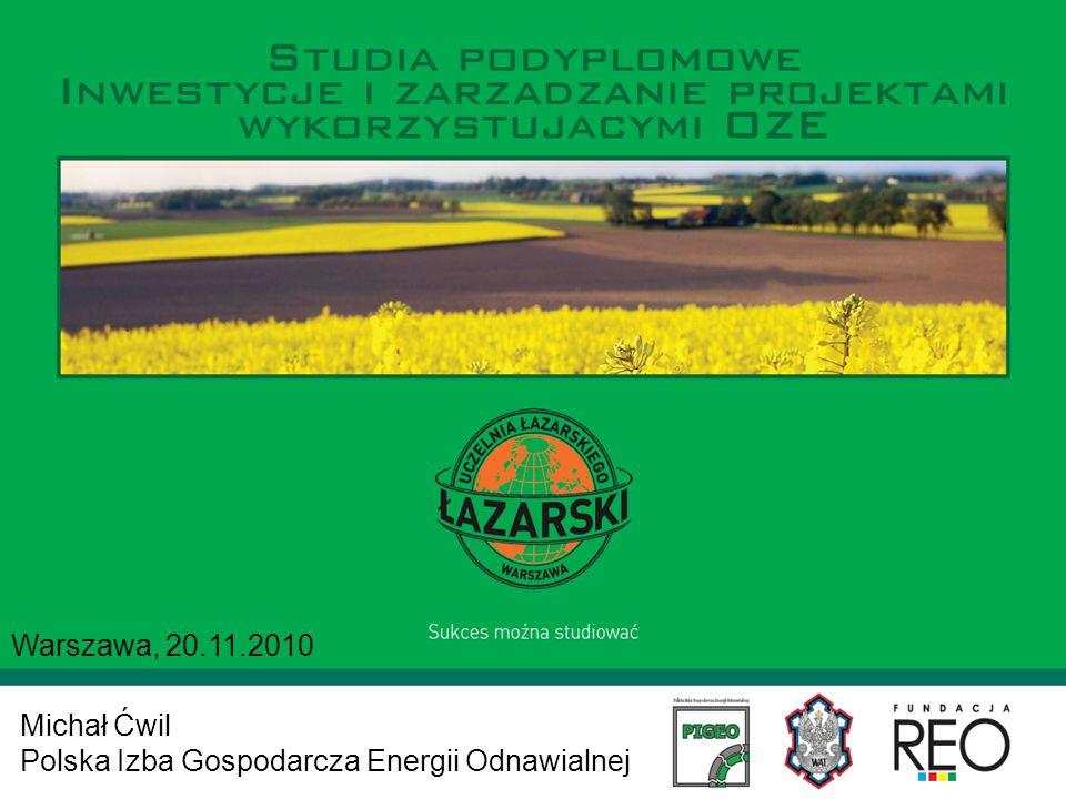 Michał Ćwil Polska Izba Gospodarcza Energii Odnawialnej Warszawa, 20.11.2010