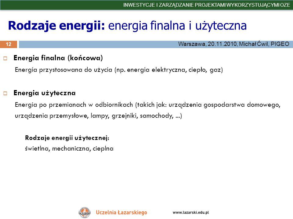 Rodzaje energii: energia finalna i użyteczna 12 INWESTYCJE I ZARZĄDZANIE PROJEKTAMI WYKORZYSTUJĄCYMI OZE Warszawa, 20.11.2010, Michał Ćwil, PIGEO Ener