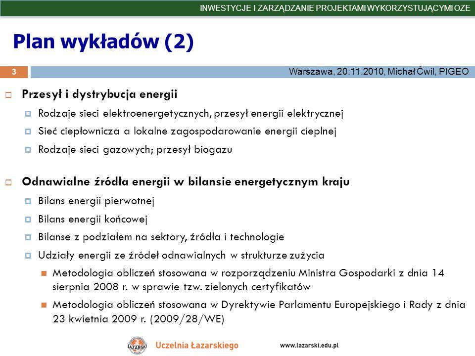 Plan wykładów (2) Przesył i dystrybucja energii Rodzaje sieci elektroenergetycznych, przesył energii elektrycznej Sieć ciepłownicza a lokalne zagospod