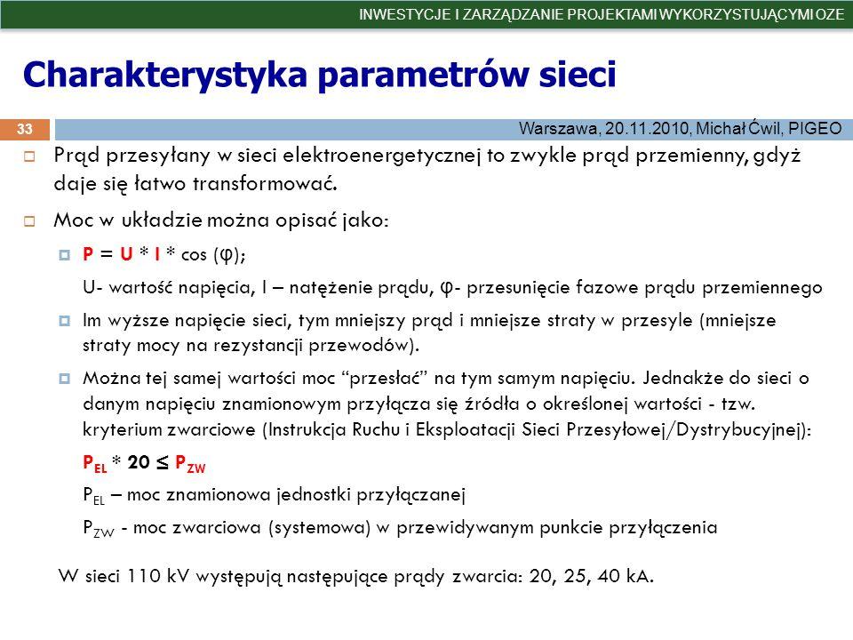 Charakterystyka parametrów sieci 33 INWESTYCJE I ZARZĄDZANIE PROJEKTAMI WYKORZYSTUJĄCYMI OZE Warszawa, 20.11.2010, Michał Ćwil, PIGEO Prąd przesyłany