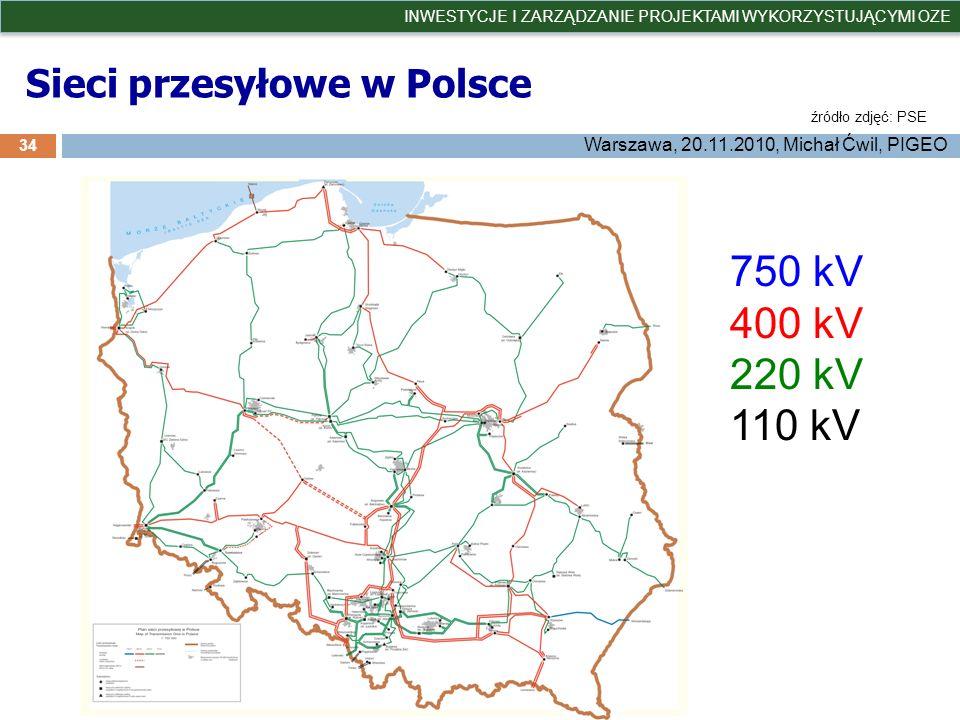 Sieci przesyłowe w Polsce 34 INWESTYCJE I ZARZĄDZANIE PROJEKTAMI WYKORZYSTUJĄCYMI OZE Warszawa, 20.11.2010, Michał Ćwil, PIGEO źródło zdjęć: PSE 750 k