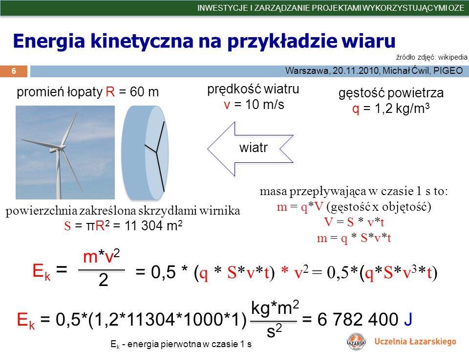 Energia kinetyczna na przykładzie wiaru 6 INWESTYCJE I ZARZĄDZANIE PROJEKTAMI WYKORZYSTUJĄCYMI OZE Warszawa, 20.11.2010, Michał Ćwil, PIGEO źródło zdj