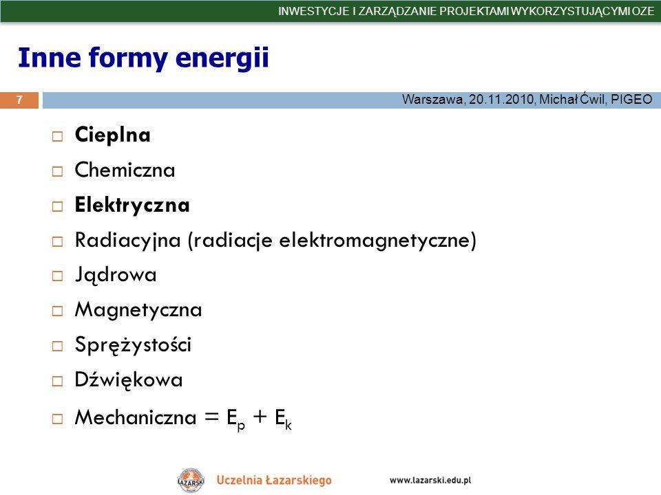 Jednostki – przykłady (moc zainstalowana) 28 INWESTYCJE I ZARZĄDZANIE PROJEKTAMI WYKORZYSTUJĄCYMI OZE Warszawa, 20.11.2010, Michał Ćwil, PIGEO 1000 W = 1 kW (kilowat) 1000 kW = 1 MW (megawat) 1000 MW = 1 GW (gigawat) 1000 GW = 1 TW (terawat) 1 TW = 1000 GW = 1000 000 MW = 1000 000 000 kW = 1 x 10 12 W 0,001 W = 1 mW (miliwat) 0,001 kW = 1 W (wat) 0,001 MW = 1 kW (kilowat)