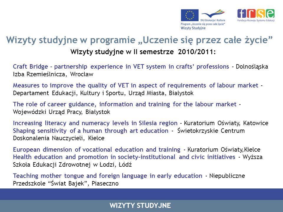 Wizyty studyjne w programie Uczenie się przez całe życie Wizyty studyjne w II semestrze 2010/2011: Craft Bridge - partnership experience in VET system