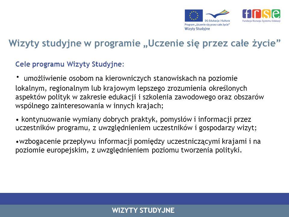 Wizyty studyjne w programie Uczenie się przez całe życie WIZYTY STUDYJNE Kluczowe tematy wybierane przez beneficjentów Rok 2010 – I runda Źródło danych: FRSE, dane własne z 2010 r.