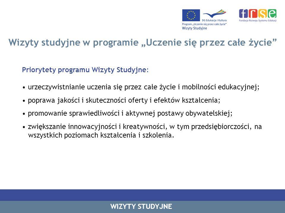 Wizyty studyjne w programie Uczenie się przez całe życie WIZYTY STUDYJNE Najczęściej wybierany język roboczy wizyt studyjnych Rok 2010 – I runda Źródło danych: FRSE, dane własne z 2010 r.