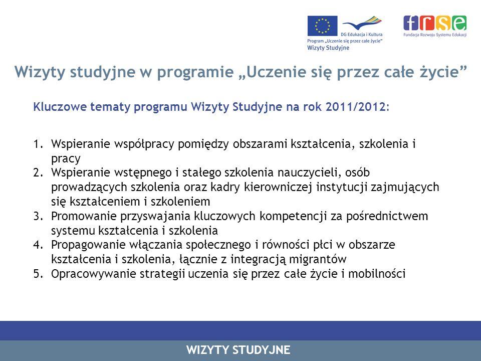 Wizyty studyjne w programie Uczenie się przez całe życie Program skierowany jest do obywateli lub stałych rezydentów 27 państw członkowskich Unii Europejskiej, krajów EFTA (Islandia, Liechtenstein i Norwegia) oraz krajów kandydujących (Turcja, Chorwacja i była Jugosławiańska Republika Macedonii) Do 2010 r - 50.000 specjalistów z dziedziny kształcenia i doskonalenia zawodowego wzięło udział w programie Wizyty Studyjne W roku 2010/11: 2544 dofinansowań wyjazdów indywidualnych w ramach programu 163 dofinansowań wyjazdów polskich uczestników wizyt studyjnych zgłoszono 266 wizyt do Katalogu Wizyt Studyjnych 2010/2011 16 wizyt studyjnych organizowanych w Polsce WIZYTY STUDYJNE