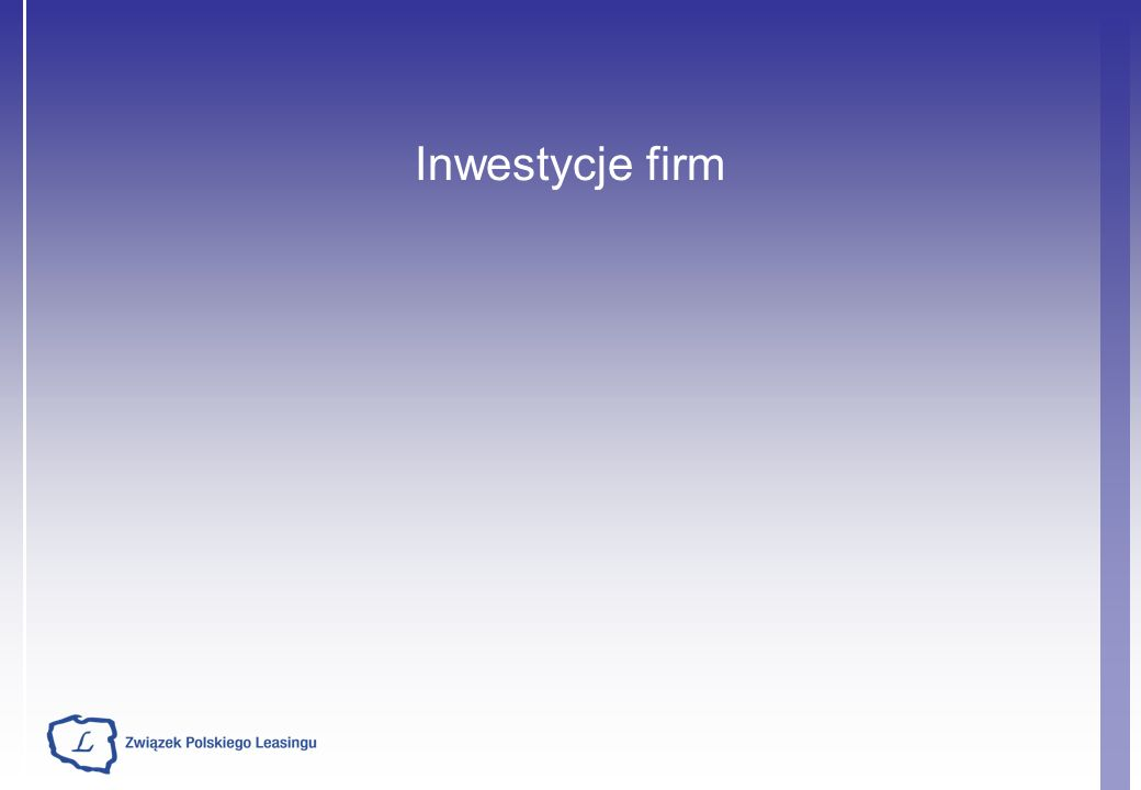 Inwestycje firm – główne determinanty (1) Wskaźniki nowych inwestycji dane NBP Wskaźnik kontynuacji inwestycji oraz udział firm z rozpoczętymi inwestycjami Inwestycje w gospodarce spadły w 2009 r.