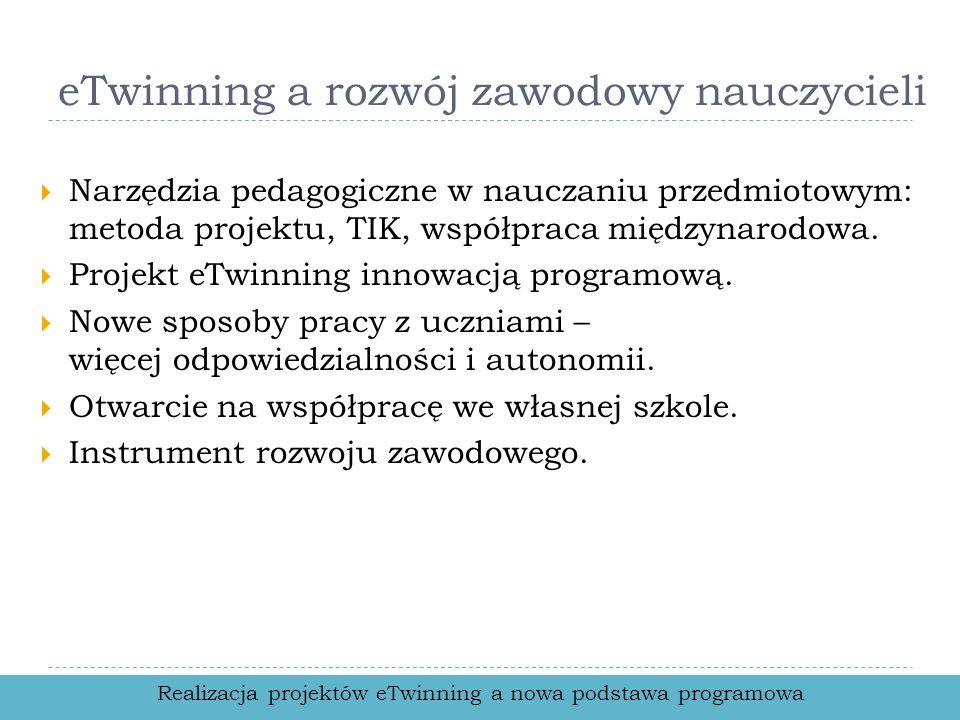 eTwinning a rozwój zawodowy nauczycieli Narzędzia pedagogiczne w nauczaniu przedmiotowym: metoda projektu, TIK, współpraca międzynarodowa. Projekt eTw