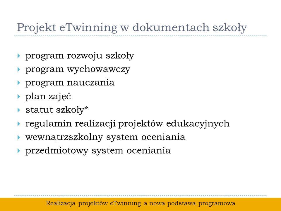Projekt eTwinning w dokumentach szkoły program rozwoju szkoły program wychowawczy program nauczania plan zajęć statut szkoły* regulamin realizacji pro