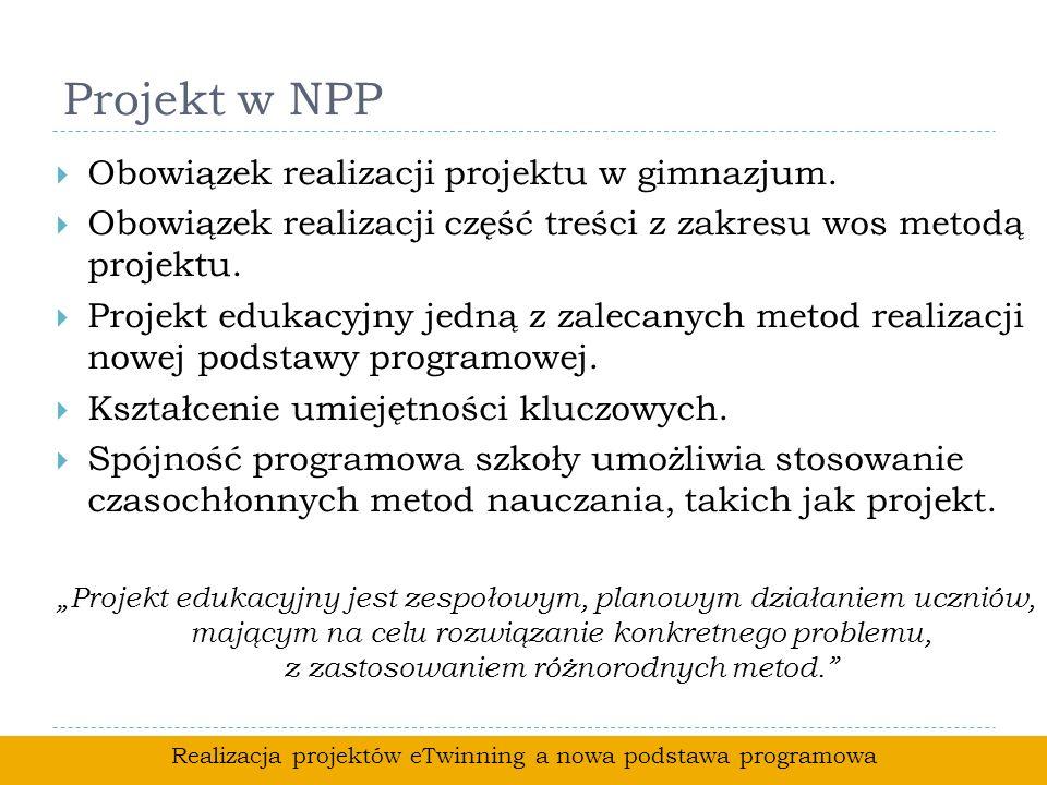 Projekt w NPP Obowiązek realizacji projektu w gimnazjum. Obowiązek realizacji część treści z zakresu wos metodą projektu. Projekt edukacyjny jedną z z