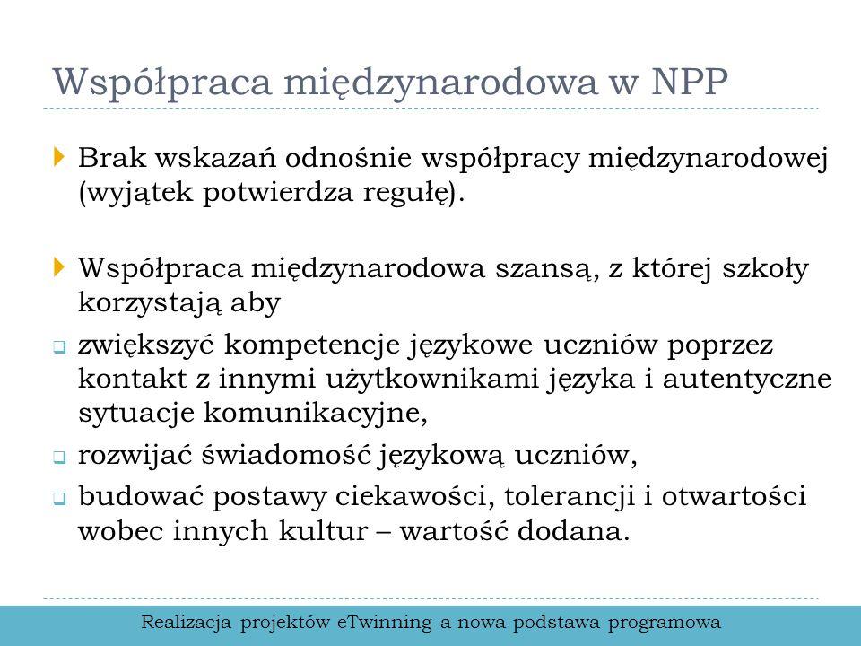 Współpraca międzynarodowa w NPP Brak wskazań odnośnie współpracy międzynarodowej (wyjątek potwierdza regułę). Współpraca międzynarodowa szansą, z któr