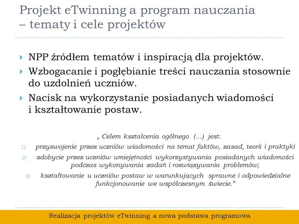 Projekt eTwinning a program nauczania – tematy i cele projektów NPP źródłem tematów i inspiracją dla projektów. Wzbogacanie i pogłębianie treści naucz