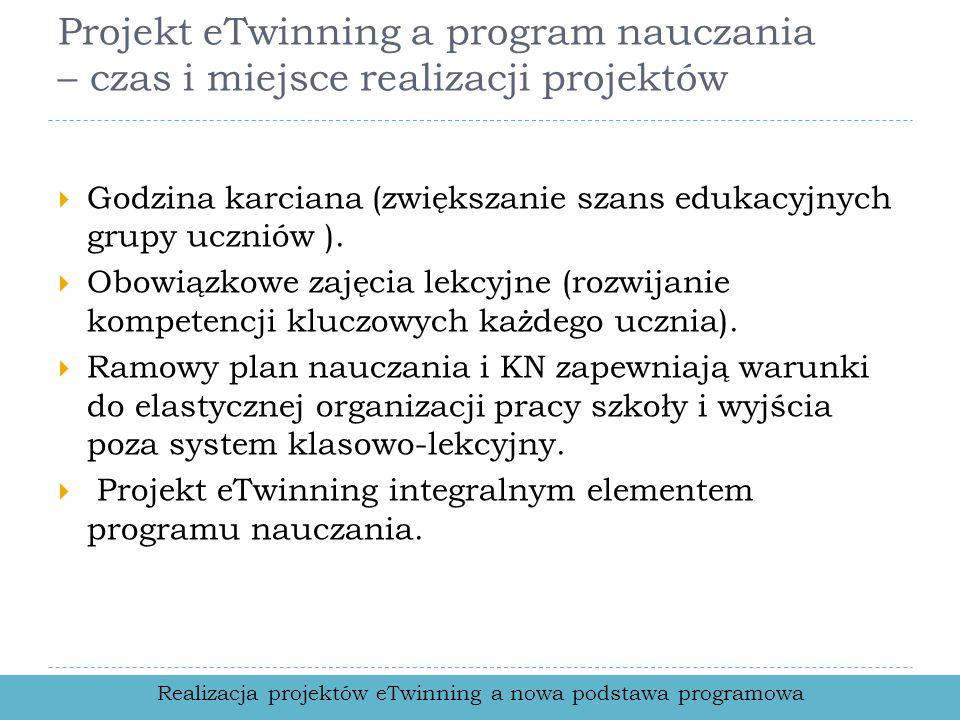 Projekt eTwinning a program nauczania – czas i miejsce realizacji projektów Godzina karciana (zwiększanie szans edukacyjnych grupy uczniów ). Obowiązk