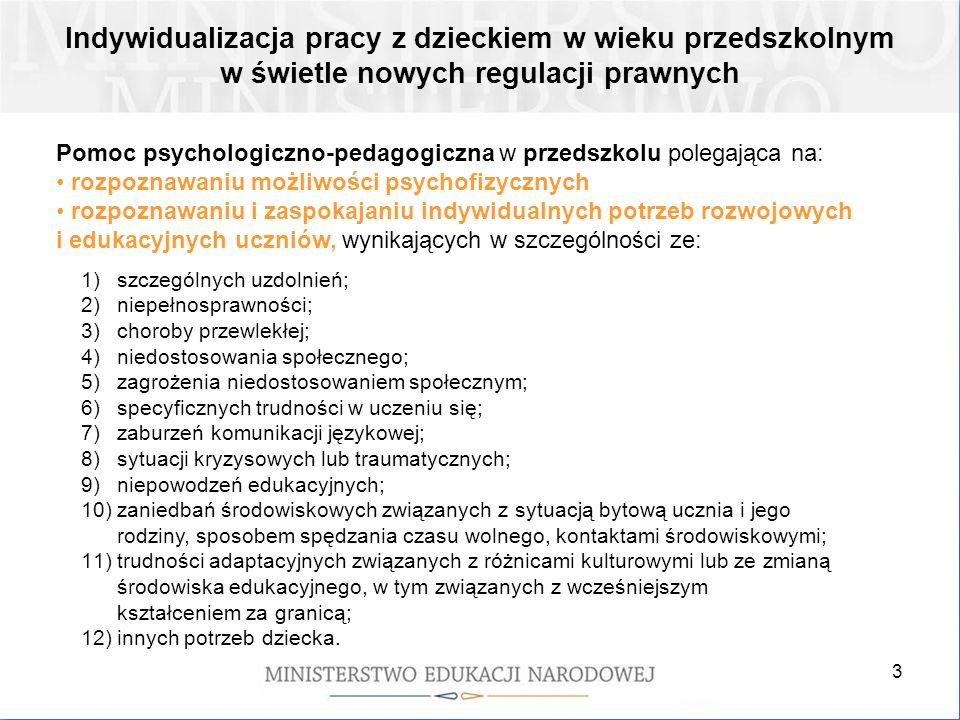 3 Pomoc psychologiczno-pedagogiczna w przedszkolu polegająca na: rozpoznawaniu możliwości psychofizycznych rozpoznawaniu i zaspokajaniu indywidualnych