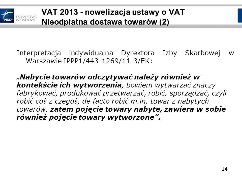 14 VAT 2013 - nowelizacja ustawy o VAT Nieodpłatna dostawa towarów (2) 14 Interpretacja indywidualna Dyrektora Izby Skarbowej w Warszawie IPPP1/443-12