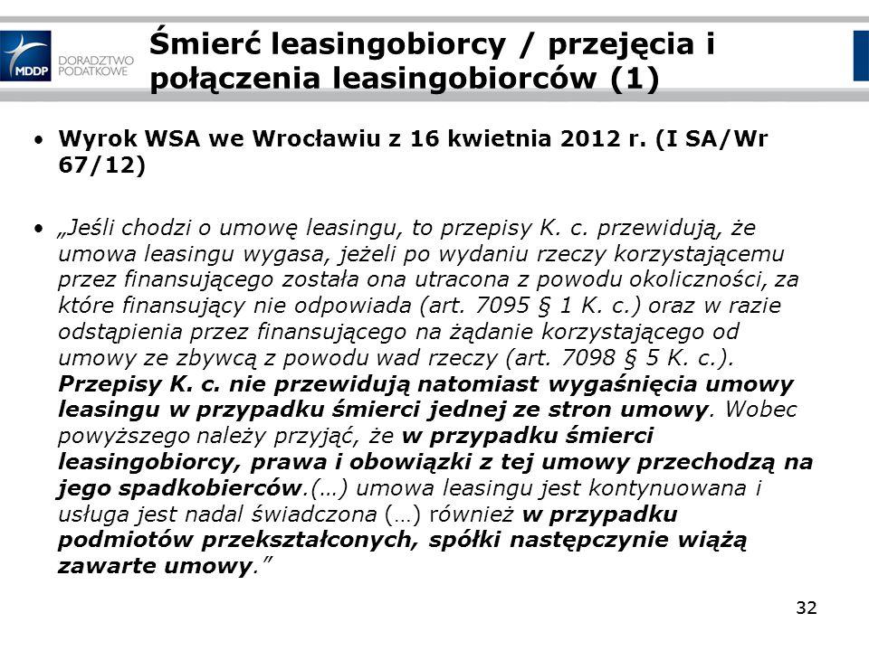 32 Śmierć leasingobiorcy / przejęcia i połączenia leasingobiorców (1) Wyrok WSA we Wrocławiu z 16 kwietnia 2012 r. (I SA/Wr 67/12) Jeśli chodzi o umow
