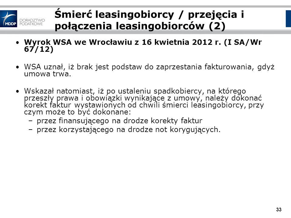 33 Śmierć leasingobiorcy / przejęcia i połączenia leasingobiorców (2) Wyrok WSA we Wrocławiu z 16 kwietnia 2012 r. (I SA/Wr 67/12) WSA uznał, iż brak