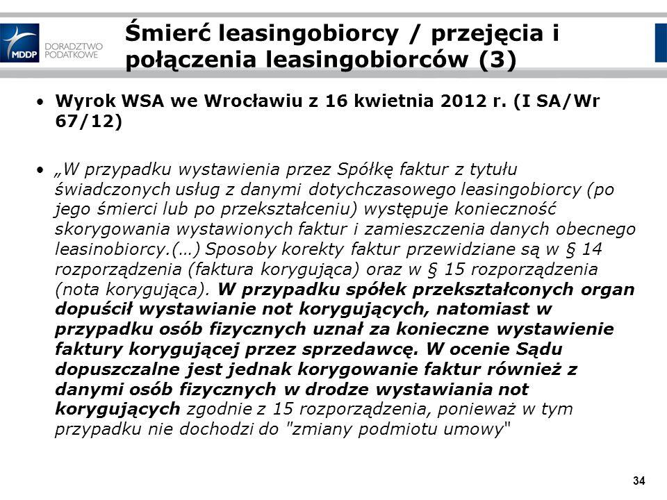 34 Śmierć leasingobiorcy / przejęcia i połączenia leasingobiorców (3) Wyrok WSA we Wrocławiu z 16 kwietnia 2012 r. (I SA/Wr 67/12) W przypadku wystawi