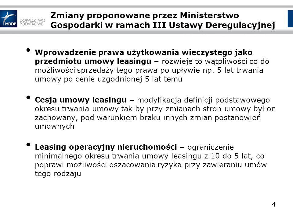 4 Zmiany proponowane przez Ministerstwo Gospodarki w ramach III Ustawy Deregulacyjnej 4 Wprowadzenie prawa użytkowania wieczystego jako przedmiotu umo