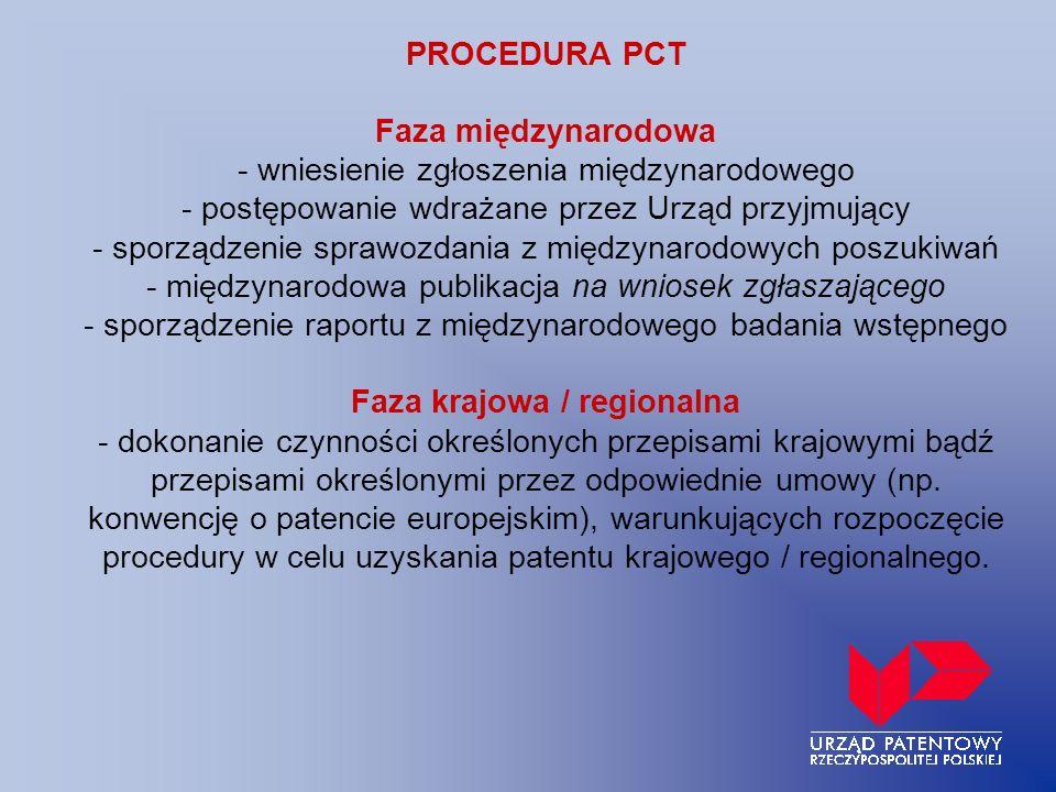 PROCEDURA PCT Faza międzynarodowa - wniesienie zgłoszenia międzynarodowego - postępowanie wdrażane przez Urząd przyjmujący - sporządzenie sprawozdania