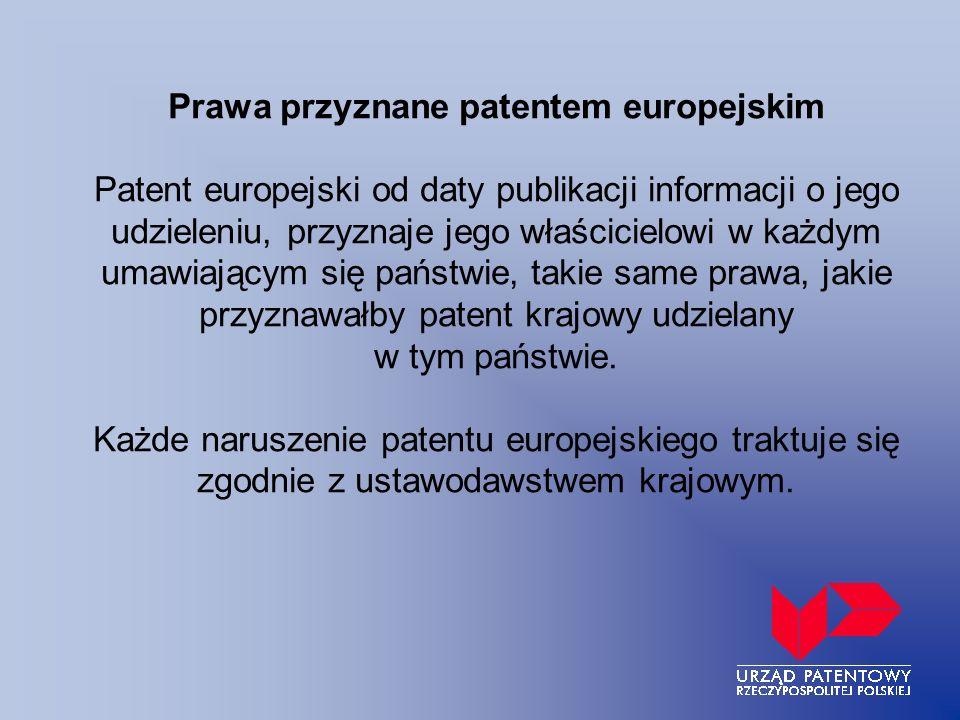 Prawa przyznane patentem europejskim Patent europejski od daty publikacji informacji o jego udzieleniu, przyznaje jego właścicielowi w każdym umawiają