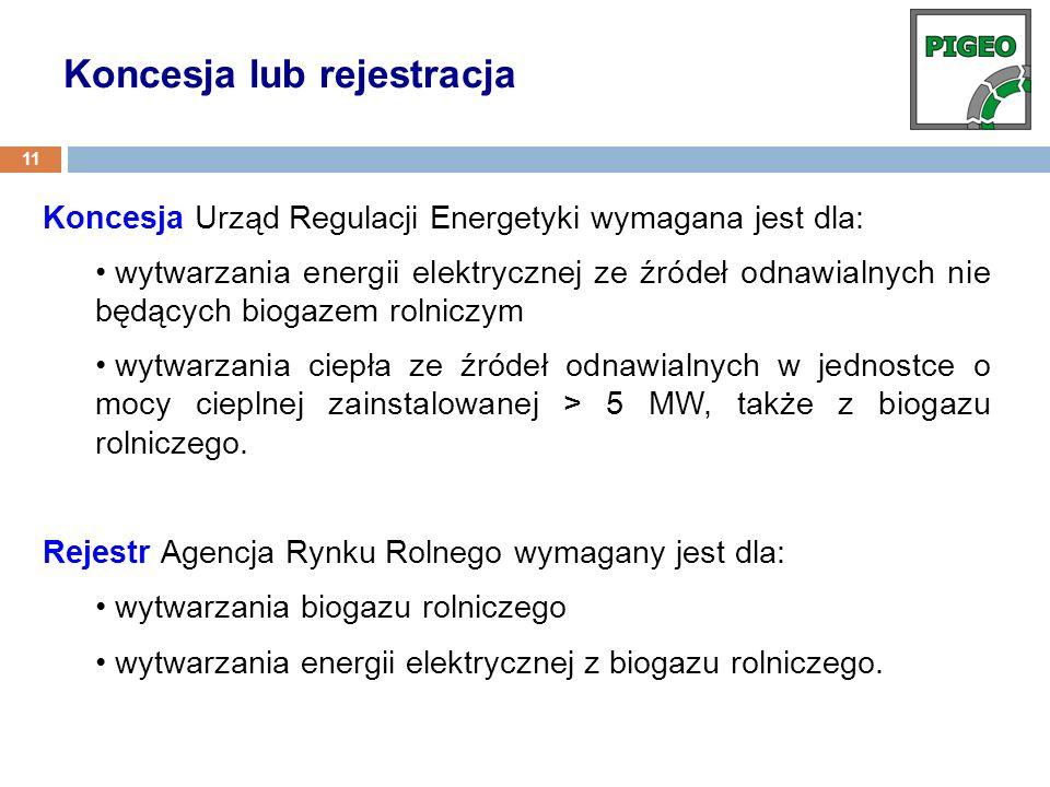 Koncesja Urząd Regulacji Energetyki wymagana jest dla: wytwarzania energii elektrycznej ze źródeł odnawialnych nie będących biogazem rolniczym wytwarz