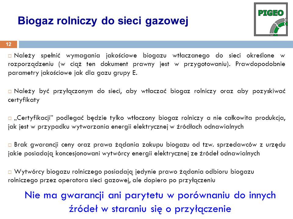 Należy spełnić wymagania jakościowe biogazu wtłaczanego do sieci określone w rozporządzeniu (w ciąż ten dokument prawny jest w przygotowaniu). Prawdop