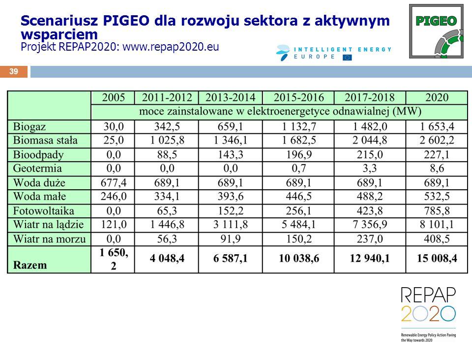 Scenariusz PIGEO dla rozwoju sektora z aktywnym wsparciem Projekt REPAP2020: www.repap2020.eu 39