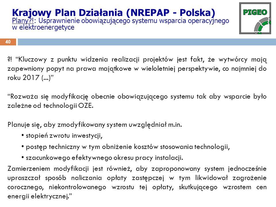 Krajowy Plan Działania (NREPAP - Polska) Plany?!: Usprawnienie obowiązującego systemu wsparcia operacyjnego w elektroenergetyce ?! Kluczowy z punktu w