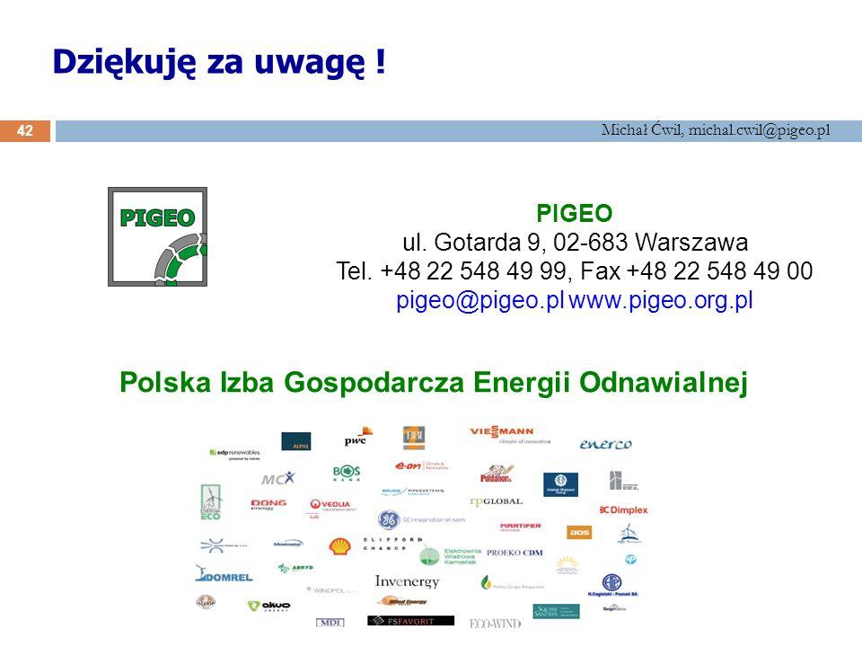 Michał Ćwil, michal.cwil@pigeo.pl Dziękuję za uwagę ! Polska Izba Gospodarcza Energii Odnawialnej PIGEO ul. Gotarda 9, 02-683 Warszawa Tel. +48 22 548
