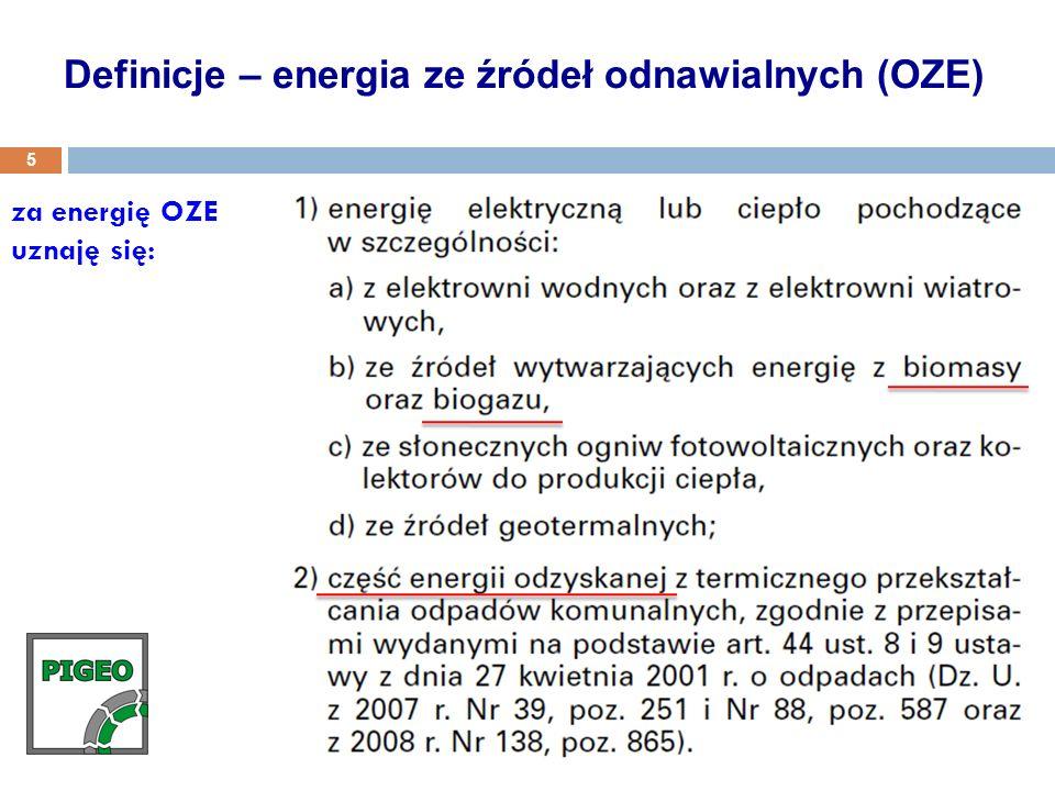 za energię OZE uznaję się: Definicje – energia ze źródeł odnawialnych (OZE) 5
